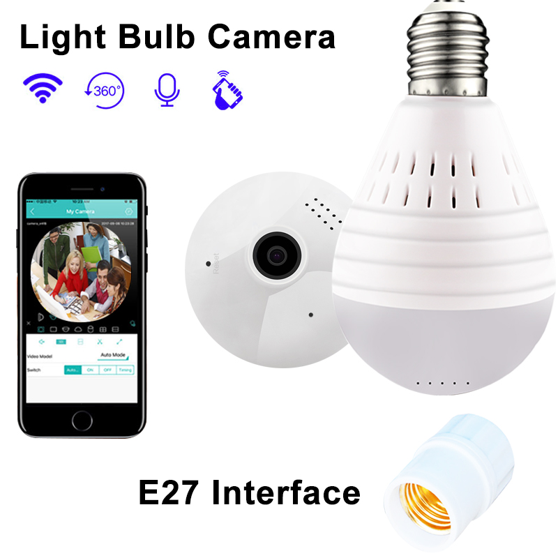 Mini Camcorders Sweet-Tempered 360 Degree Wireless Ip Fisheye Panoramic Surveillance Home Security Wifi Night Vision E27 Bulb Lamp P2p Motion Detection Camera Beneficial To Essential Medulla Camcorders