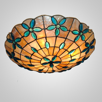High Quality Free Shipping 110 240V Indoor Tiffany Light Flush Mount With 16 Inch Flower Design