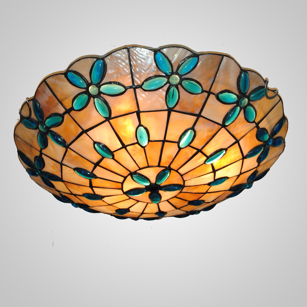 Mamei free shipping 110 240v indoor tiffany light flush mount light fixtures with 16 stained glassl lamp shade by fast express in ceiling lights from