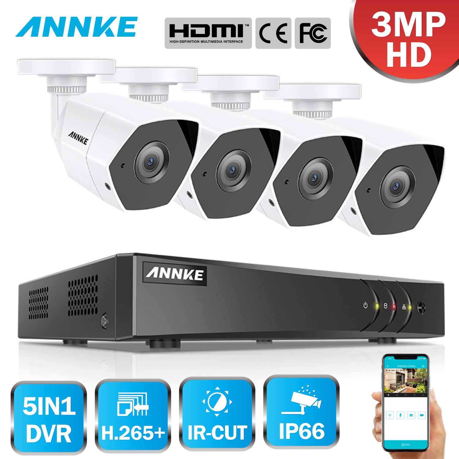 ANNKE FHD 4CH 5in1 3MP Home Outdoor CCTV Security System Kit With 3MP Surveillance Bullet Weatherproof Camera H.265 HDMI DVRANNKE FHD 4CH 5in1 3MP Home Outdoor CCTV Security System Kit With 3MP Surveillance Bullet Weatherproof Camera H.265 HDMI DVR