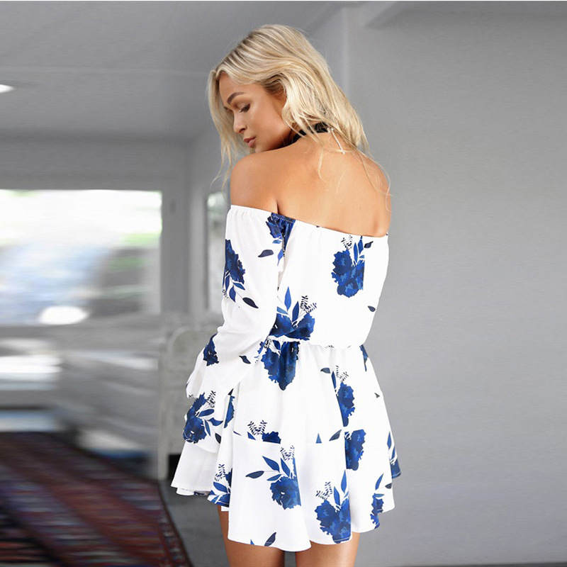ELSVIOS Sexy Off Shoulder Slash Neck Office Dress 2017 Summer Floral Print Beach Dress Casual Flare Sleeve Women Dress Vestidos 8