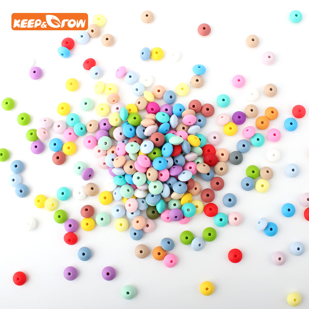 Keep&grow 10Pcs Lentil Silicone Beads Abacus Teethers Mordedor Bead 12mm DIY Pacifier Chian Necklace Making Nursing Toy 33Colors