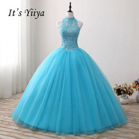 It S YiiYa Blue Strapless Hight Collar Crystal Wedding Gowns Floor Length Bling Bride Dresses Vestidos