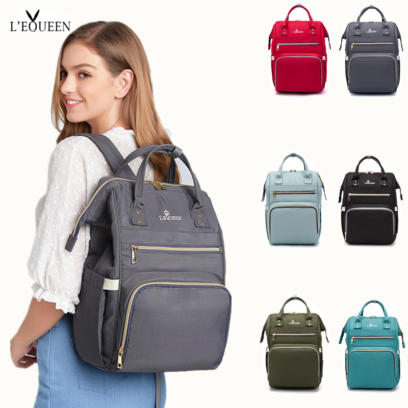 Lequeen Diaper Backpack Mummy Large Capacity Bag Mom Baby Multi-function Waterproof Outdoor Travel Diaper Bags For Baby Care