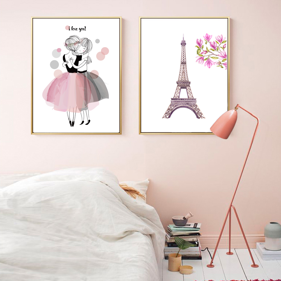 Kawaii Girl Style Flowers Umbrella Nursery Canvas Paintings Wall Art Picture Poster Print Anniversary Gifts Baby Room Home Decor in Painting Calligraphy from Home Garden