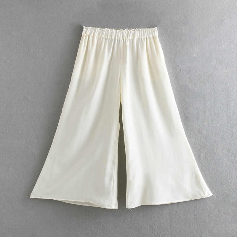 Dropped Satin Long Summer Pants Womens Wide Leg Pant Women White Black Summer Trousers Female Women Clothes 2019 EE20