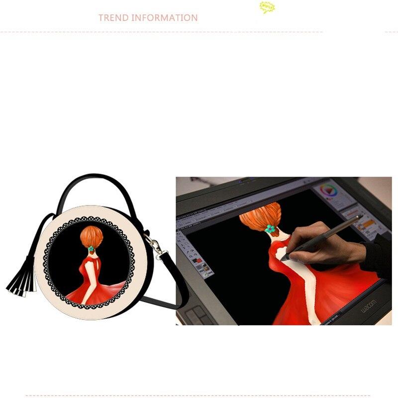 2018 vrouwen tas nieuwe tij ronde vrouwelijke cartoon geschilderd tas kwastje mini Messenger bag mode schoudertas kleine zwarte ronde tassen - 3