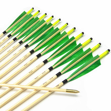 12pcs Handmade 33″green colorful Turkey feathers Featured Wooden Arrows with Copper Point for Shooting Recurve bow