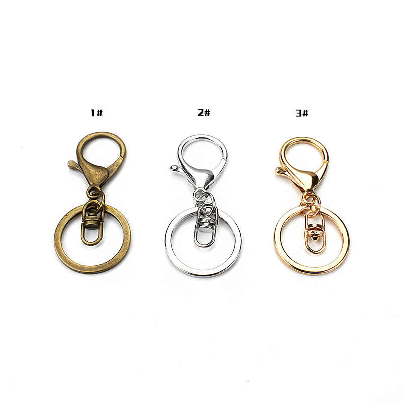 5pc Bronze ródio ouro Fecho lagosta Clipes Fechos de Gancho Chave Keychain Achados Anel Chave de Divisão Para Chaveiros Fazer