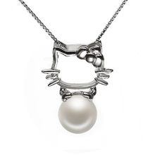 63cfdf85c RUNZHUQIYUAN 2017 100% natural freshwater pearl Pendant charm necklace  Hello Kitty 925 Sterling Silver jewelry For Women Gift