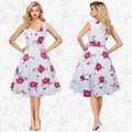 Retro Red rose A word dress 2017 summer New products Hot New Dress Women Clothing Robe Femme Vintage Summer A5