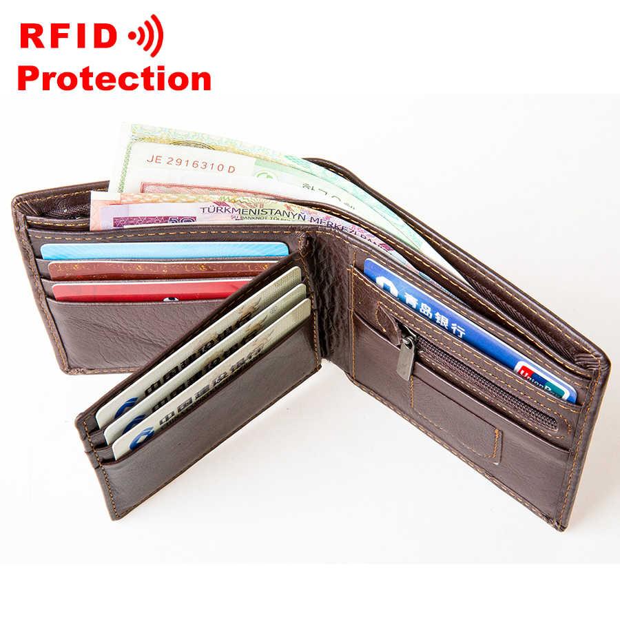 100% ของแท้หนังผู้ชายกระเป๋าสตางค์แฟชั่นสั้น Bifold กระเป๋าสตางค์ RFID การปิดกั้นบัตรเครดิตคลัทช์ผู้ชายธุรกิจกระเป๋า R1