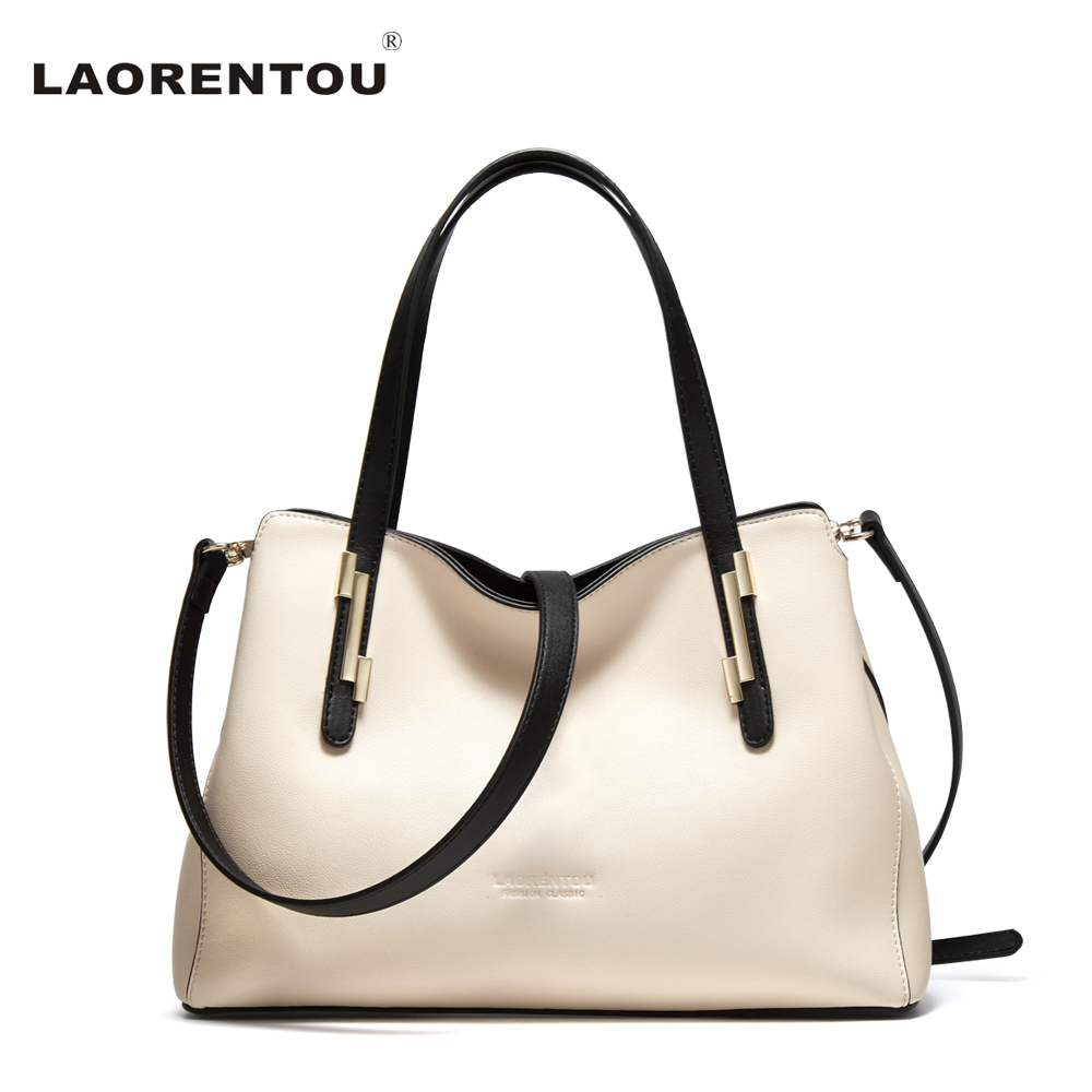 ФОТО LAORENTOU Brand Fashion Exclusive Women's Handbag Cowhide Leather Crossbody Bag For Women Large Capacity Female Shoulder Bag N49