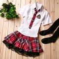 2016 Лето сейлор костюм студент равномерное классический школы форма одежды 4 шт. установить плиссированные юбки японские форма опрятный стиль набор