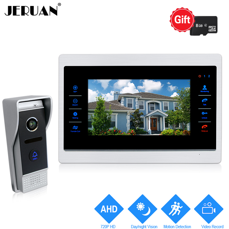 JERUAN 10 inch 720P Video Door Phone Doorbell Unlock Intercom System Record Monitor +1.0MP HD COMS Camera With Motion Detection