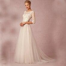 Vintage A line Scoop Neckline Lace Appliques Wedding Dress 2017 Beach Romantic Half Sleeve Tulle Court Train vestidos de novia