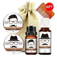 4pcs Set Beard Growth Oil Berad Care Balm Moisturizing Modeling Organic Beard Conditioner Styling