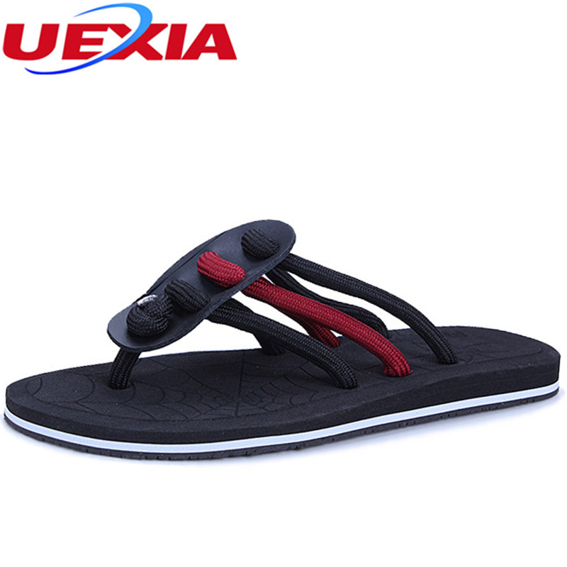 где купить UEXIA New Summer Fashion Men's Flip Flops Beach Casual Men Flats Slippers Non-slip Shoes Slippers Slide Flip-Flops Men Sandalias по лучшей цене