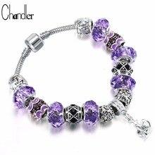 Chandler estilo europeo Vintage plateado Cristal púrpura encanto pulsera mujeres Ajuste Original marca de bricolaje pulsera joyería regalo
