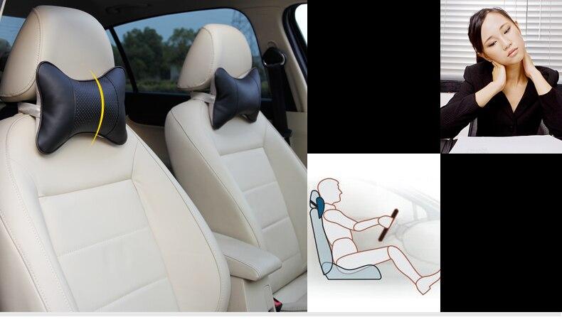 Karcle 2 PCS usnjene blazine za vrat v vratu vzglavniki dihalne - Dodatki za notranjost avtomobila - Fotografija 5