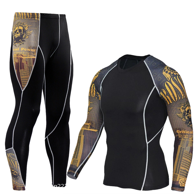 Men's Compression Run Jogging Suits Clothes Sports Set Long T Shirt And Pants Gym Fitness Workout Tights Clothing 2pcs/Sets MMA