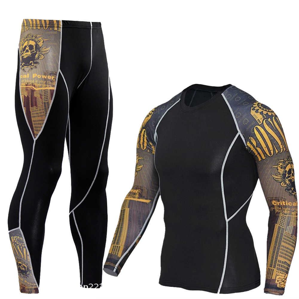 33469849f0fd9 Hombres Compression correr joggings ropa conjunto deportes Camiseta larga y  pantalones Gym Fitness Workout medias ropa