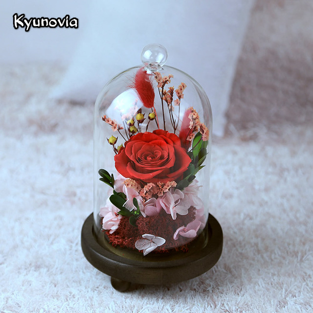 Kyunovia Valentines Day Birthday Gift Real Rose Flower Fresh Preserved Roses Home Decoration Creative Gifts Lover KY106
