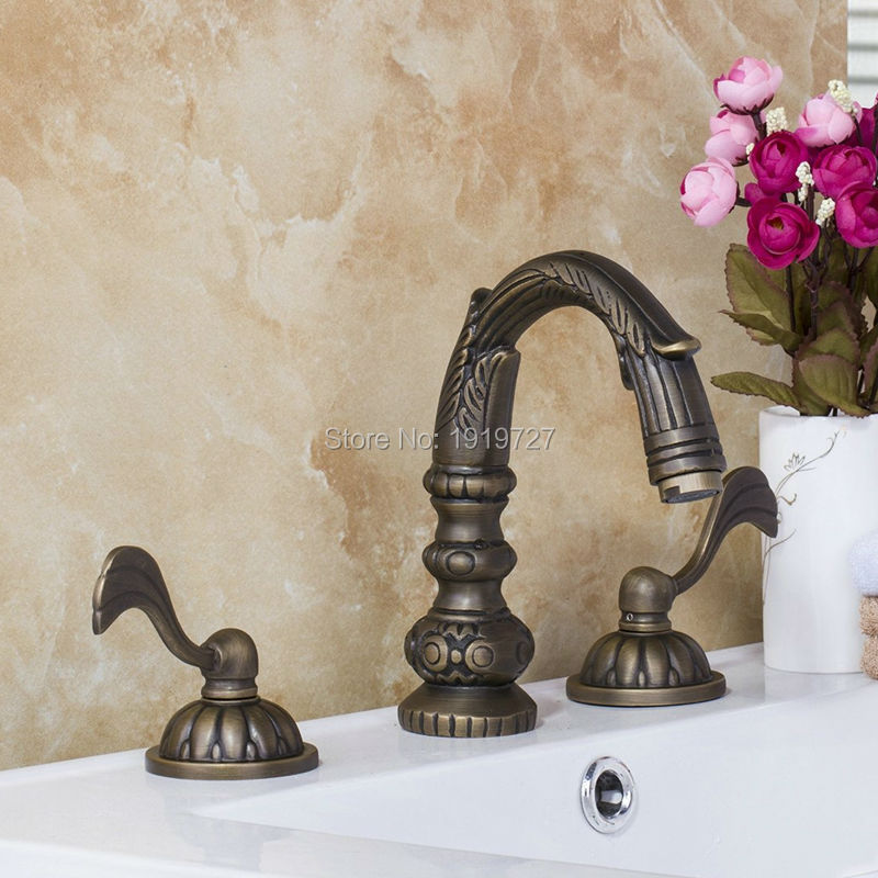 100% All Copper Lead Free Antique 3 Piece Sink Faucet Unique Design Double-Arm Bathroom Sink Fixture With Brass Double Handle(China)