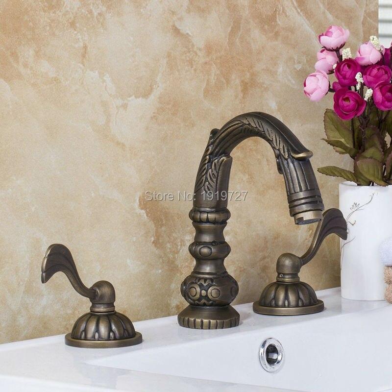 Античный смеситель для раковины из 100% меди, без свинца, из 3 предметов, уникальный дизайн, двухрычажный смеситель для раковины в ванной комна