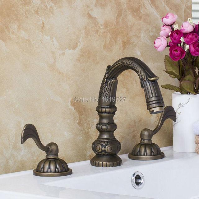 All Copper Lead Free Antique Piece Sink Faucet Unique Design - 3 piece bathroom sink faucet
