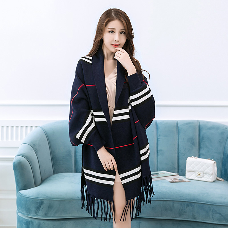 Wearable Striped Print Warm Pashmina With Sleeves Wool Women Scarf Thick Shawls Winter Coat Women Pashminas Para Mujer 6 Colors
