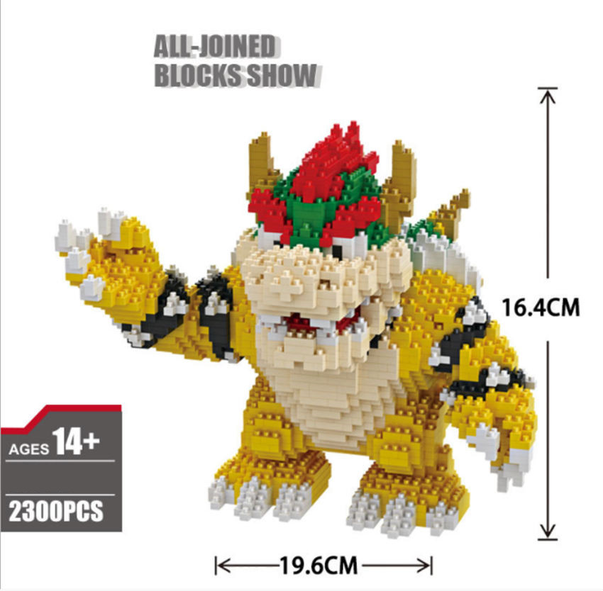 Image 5 - Game Super Marioing Bowser Turtle stitch Animal Monster 3D Model DIY Diamond Mini Building Blocks Bricks Toy 2300pcs-in Blocks from Toys & Hobbies