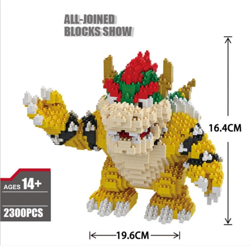 Image 5 - Game Super Marioing Bowser Turtle stitch Animal Monster 3D Model DIY Diamond Mini Building Blocks Bricks Toy 2300pcs-in Blocks from Toys & Hobbies