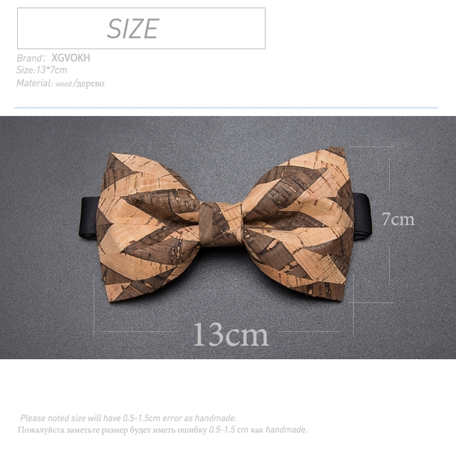 New Cork Wood Fashion Bow Ties Mens Novelty Handmade Solid Neckwear for Mens Wedding Party Man Gift  Accessories Men Bowtie