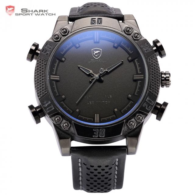 Kitefin Shark Sport Negro Reloj Dual Time Zone LED Display de Cuarzo Analógico Digital Alarma Impermeable Para Hombre Reloj de Pulsera de Cuero/SH262