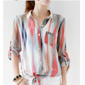 New 2016 Korean Women Long Sleeve Fancy Chiffon Blouse Shirt Embroidery Pocket Casual Plus Loose Size Chiffon blusas Tops