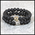 2pcs new Natural 8mm fashion lava stone beads bracelet silver/gold plated buddha head charm bracelet men women bracelets
