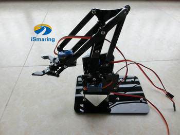 Official iSmaring DIY 4DOF Acrylic Robot Arm with Robotic Claw with Arduino Kit Mechanical Grab Manipulator  Diy Tracked Crawler
