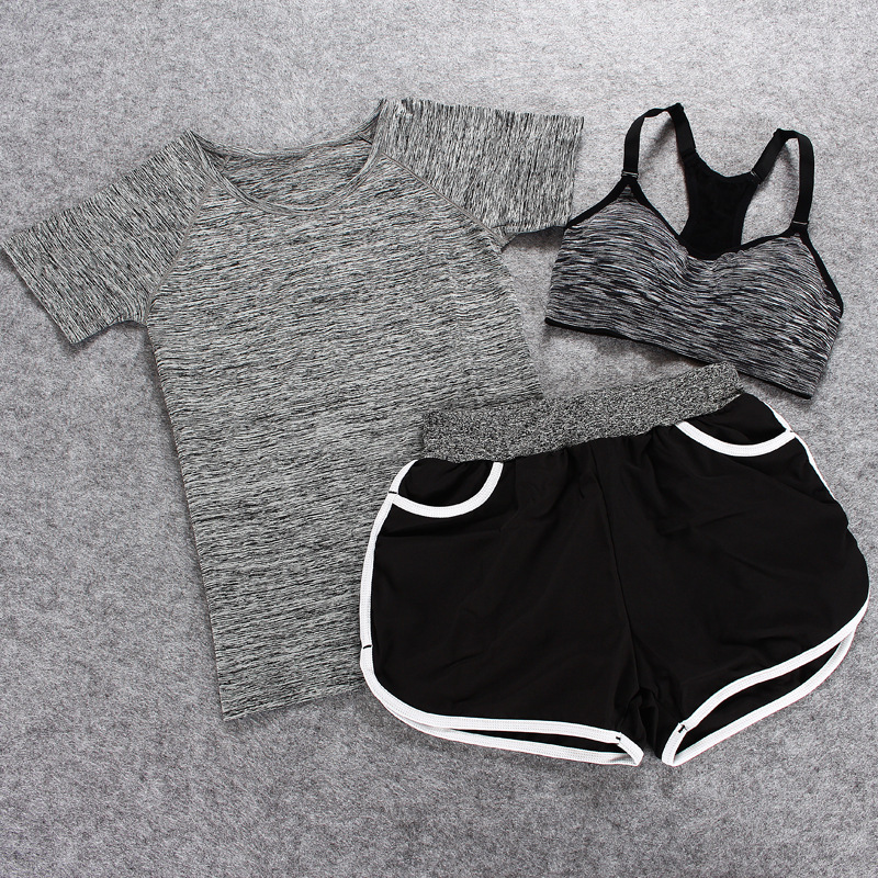Summer sporting fitness ladies suits clothing three sets perspiration wicking  segmental staining clothes pants suit