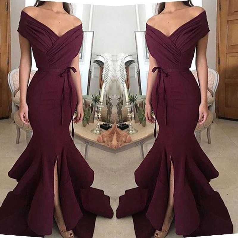 Simple Burgundy Mermaid   Bridesmaid     Dresses   Sexy Cap Sleeve Ruffles Split Prom Party Wear   Dress   Custom Made Prom Gowns Plus Size