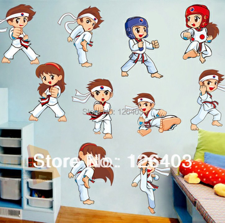 Incre ble taekwondo hombre wall stickers decals kids ni os for Stickers pared ninos