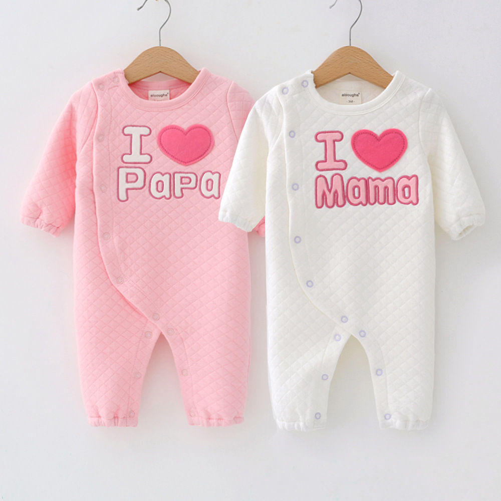 2017 Newborn Baby Rompers Cute Love Mama Papa Thick Cotton Long Sleeve Ropa Bebe Infant Girl Jumpsuit Set New Baby Boy Clothes brand 100% cotton new 2017 ropa bebe newborn baby girls clothing clothes romper creeper jumpsuit short sleeve baby girls rompers