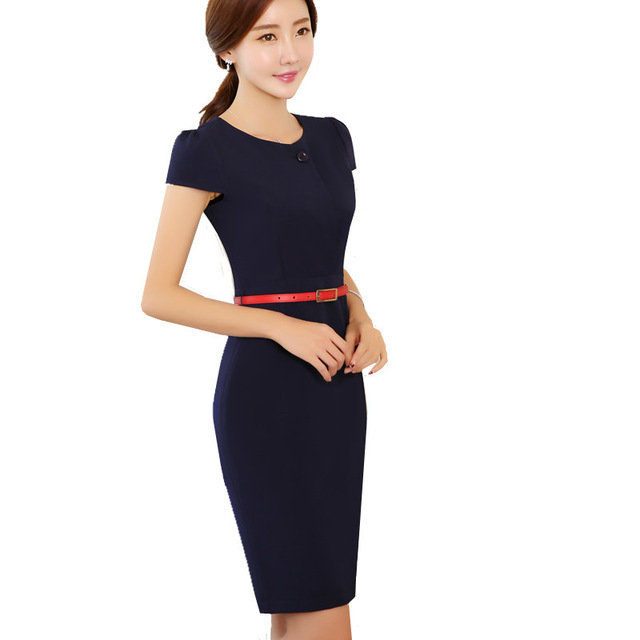 7780e09120b Career Women Work Dress Vintage 2017 Summer Short Sleeve Split Hem  One-Button Design Elegant Business Office Pencil Bodycon Retr