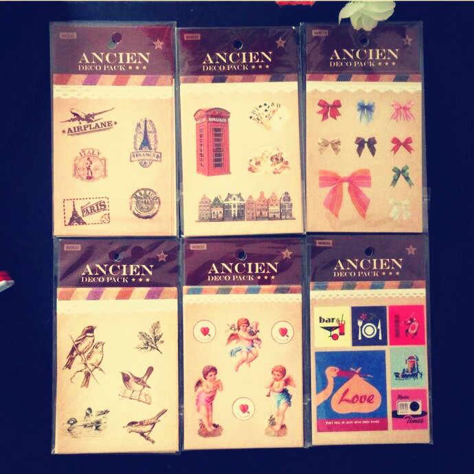 4 unids/lote Kawaii Vintage Life mini sello pegatina set regalo decoración sellado adhesivo para estudiantes DIY etiqueta deco pack