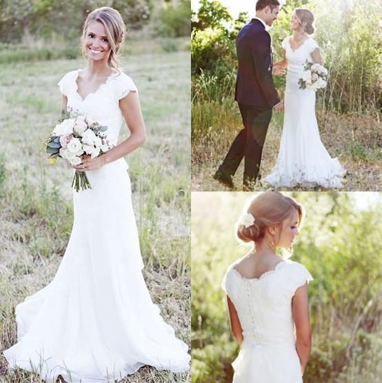 2017 Simple Country Wedding Dresses V Neck Lace Top Chiffon Sweep Train Bridal Gowns Vestido De