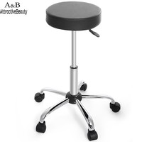 New Synthetic Leather Round Barstool Adjustable High Wheels Bar Stool Modern Chair Black
