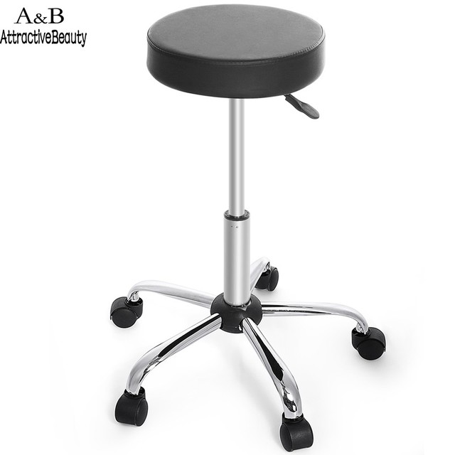 stool chair on wheels ashley furniture and ottoman new synthetic leather round barstool adjustable high bar modern black n20