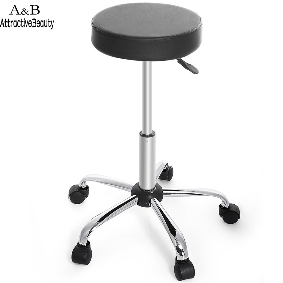 New Synthetic Leather Round Barstool Adjule High Wheels Bar Stool Modern Chair Black N20