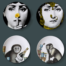8 Inch Nordic Style Utenos Fornasetti Ceramics Plate Illustration Hanging Dishes Sample Room Home Hotel Decoration 8