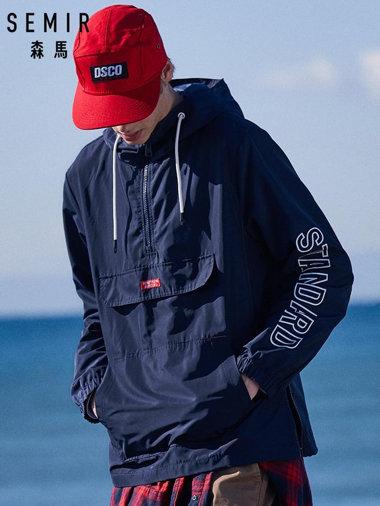 SEMIR Men Hooded Jacket With Zip Men Sport Jacket With Drawstring Hood Print Jacket With Kangaroo Pocket Zip At Side Streetwear